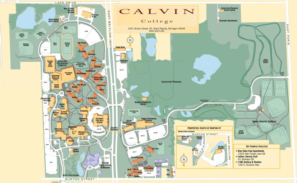 Map Of Calvin College Campus | Maps | Campus Map, College, College - Texas Southmost College Map
