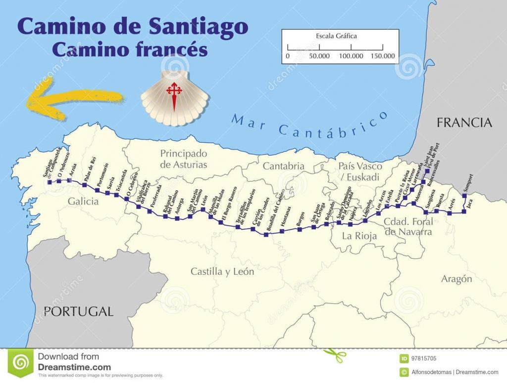 Map Of Camino De Santiago French Route Vector Stock Vector - Printable Map Of Camino De Santiago