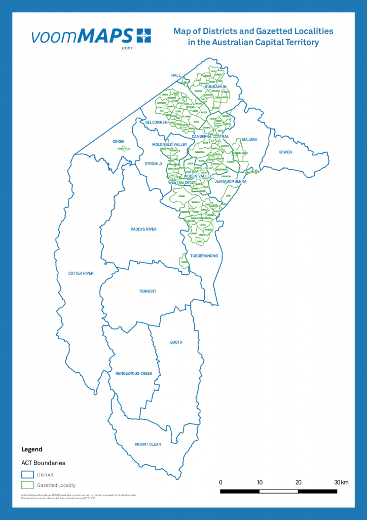 Map Of Canberra Suburbs – Voommaps - Printable Map Of Canberra