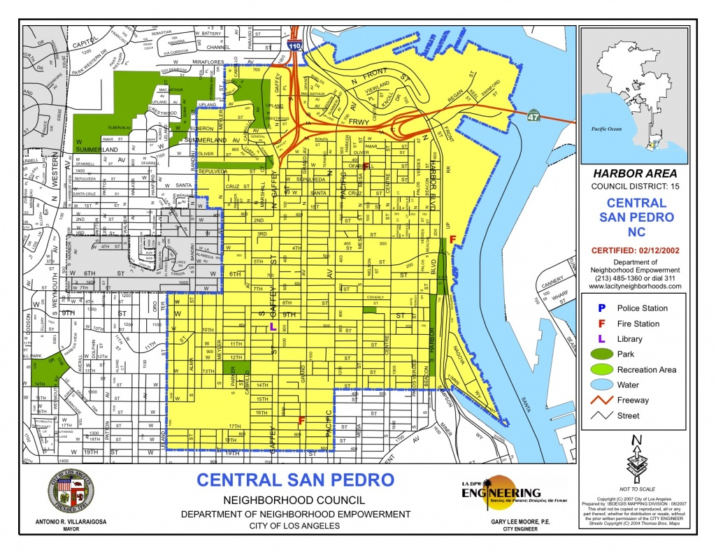 Map Of Central Boundaries | Central San Pedro Neighborhood Council - San Pedro California Map