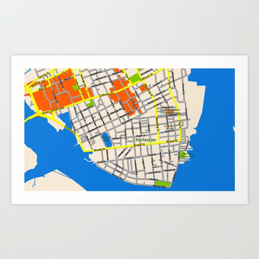 Map Of Charleston, Sc Art Printefratul | Society6 - Printable Map Of Charleston Sc