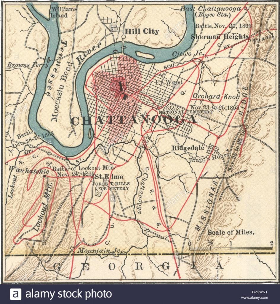 Map Of Chattanooga Stock Photo: 35955636 - Alamy - Printable Map Of Chattanooga