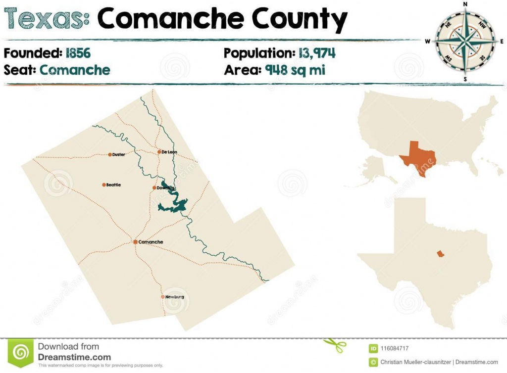 Map Of Comanche County In Texas Stock Vector - Illustration Of City - Comanche County Texas Map
