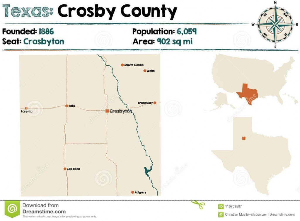 Map Of Crosby County In Texas Stock Vector - Illustration Of Highway - Crosby Texas Map
