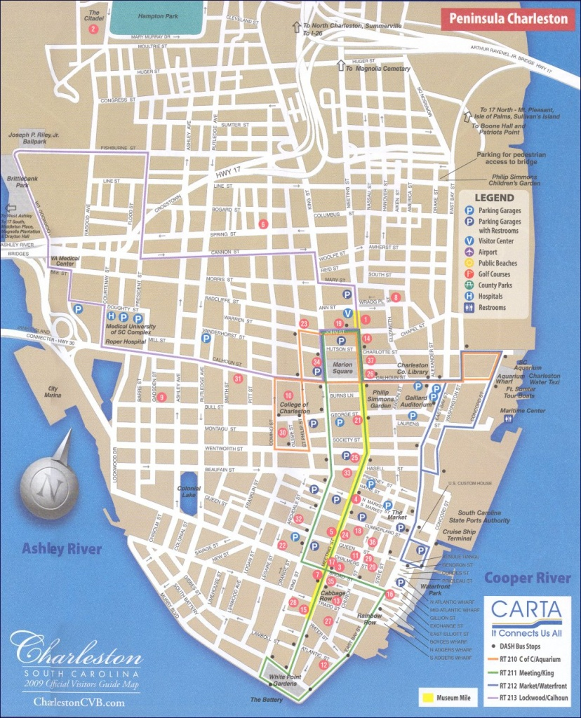Map Of Downtown Charleston - Printable Map Of Charleston Sc