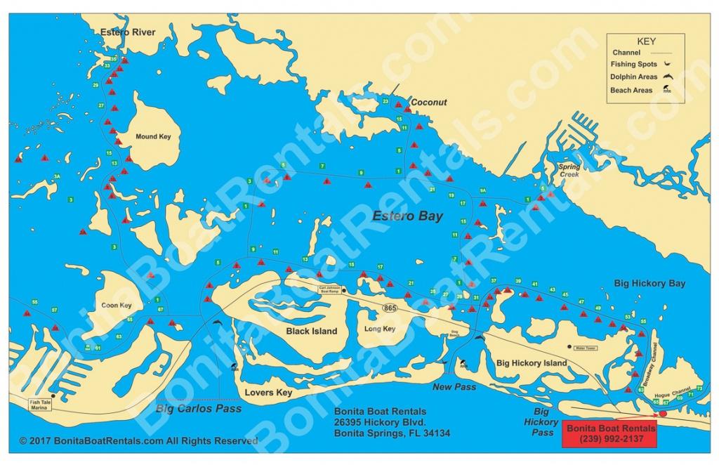 Map Of Estero Bay   Fishing Spots   Beaches   Bonita Boat Rentals - Estero Beach Florida Map