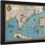 Map Of Florida And Cubajacques Le Moyne Framed Print Wall Art   Framed Map Of Florida