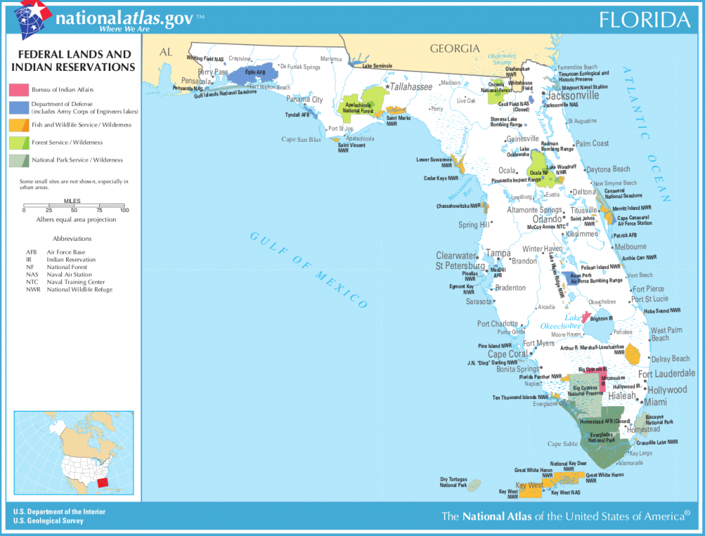 Map Of Florida (Map Federal Lands And Indian Reservations - Where Is Islamorada Florida On Map