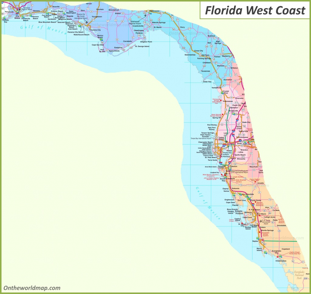 Map Of Florida West Coast - Map Of West Coast Of Florida Usa
