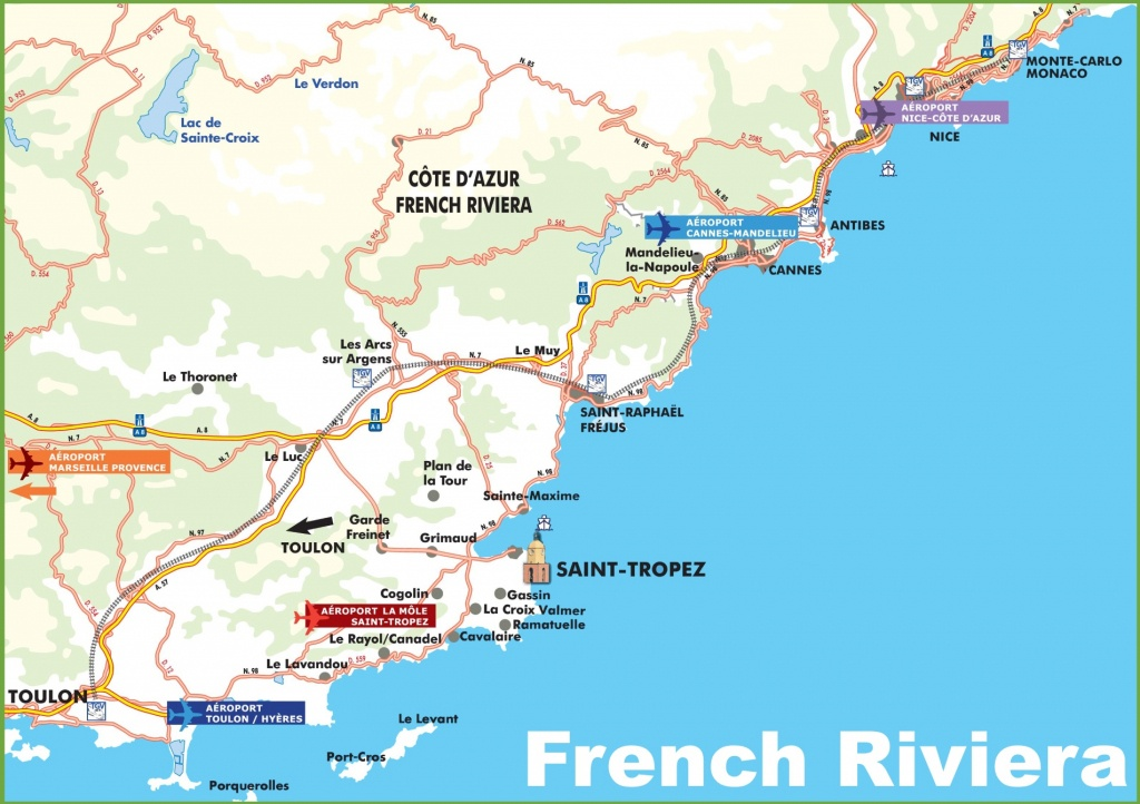 Map Of French Riviera With Cities And Towns - Printable Map Of France With Cities And Towns