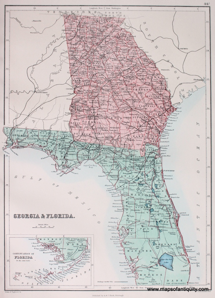 Map Of Georgia And Florida And Travel Information | Download Free - Map Of Georgia And Florida