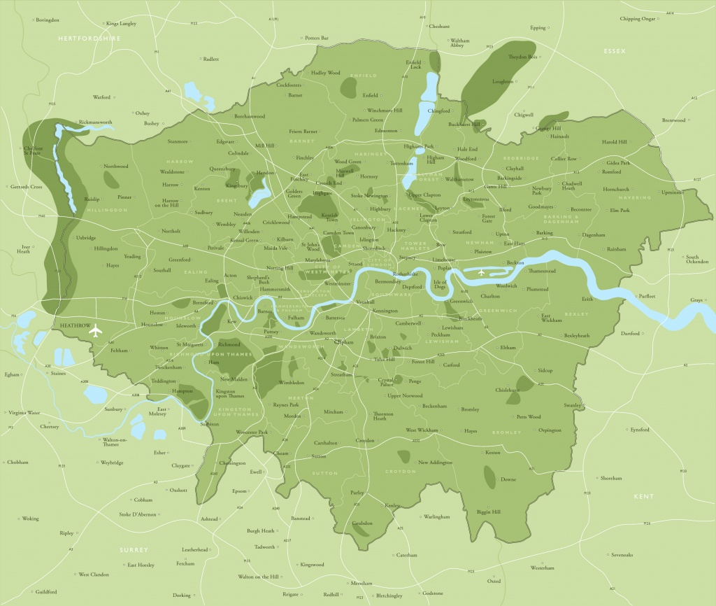 Map Of Greater London Districts And Boroughs - Maproom - Printable Map Of London Boroughs
