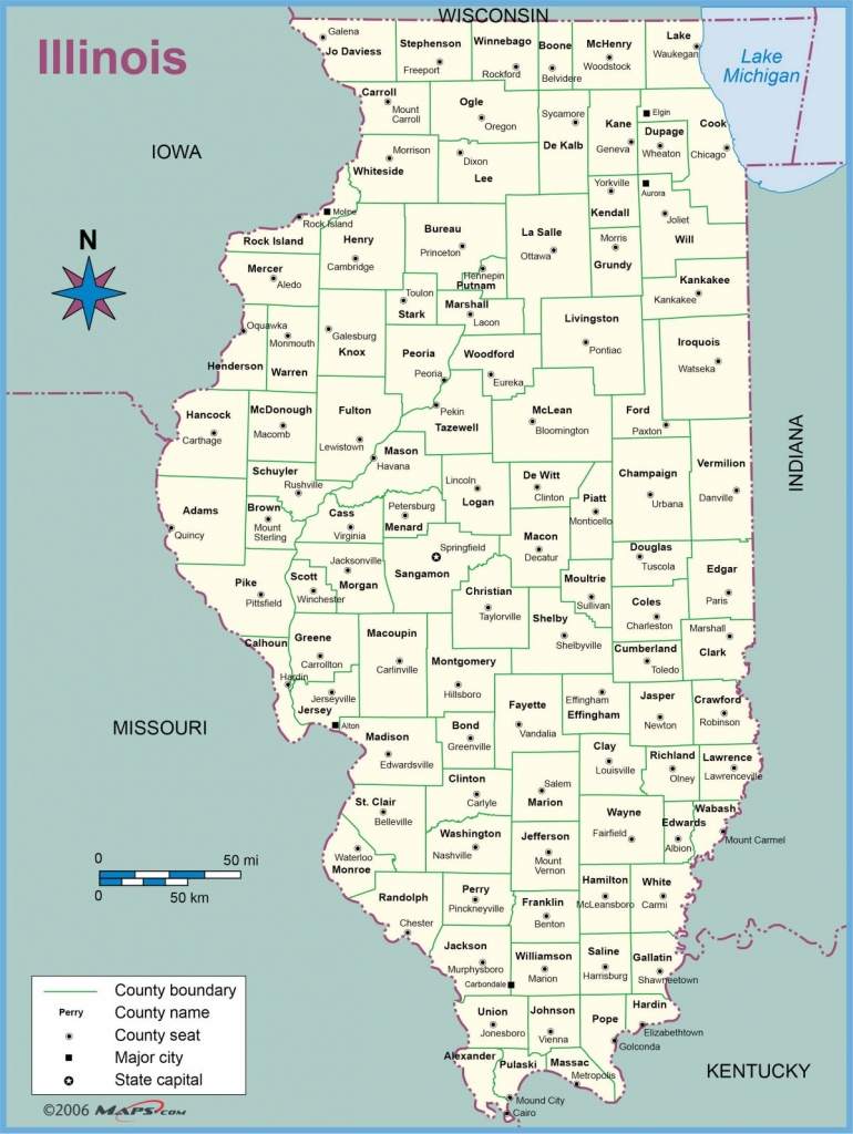 Map Of Illinois Counties With Names Towns Cities Printable - Printable Map Of Illinois