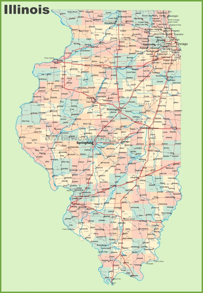 Map Of Illinois With Cities And Towns - Printable Map Of Illinois