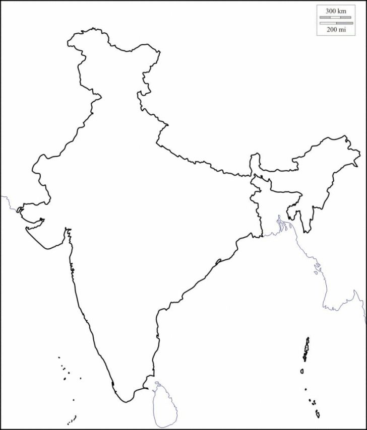 India Outline Map A4 Size Printable