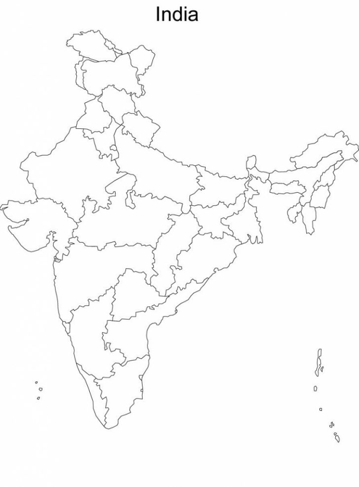 India Political Map Outline Printable