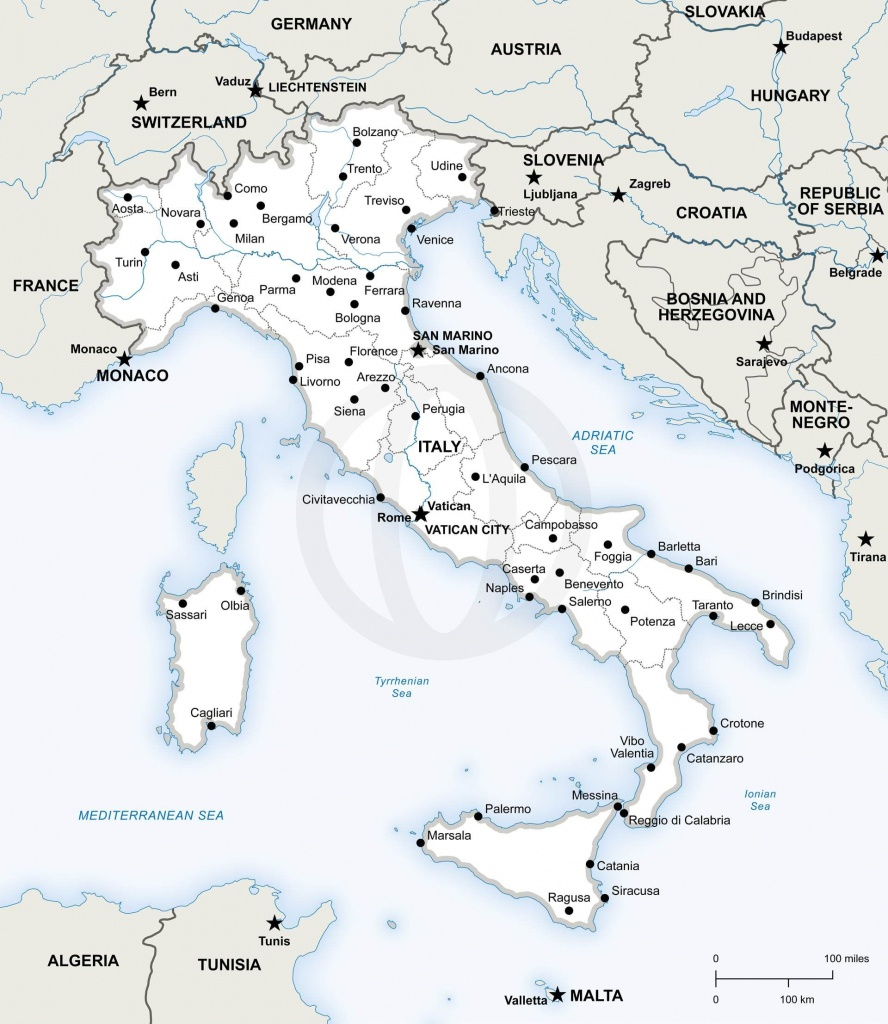 Map Of Italy Political In 2019   Free Printables   Map Of Italy - Printable Map Of Italy With Regions