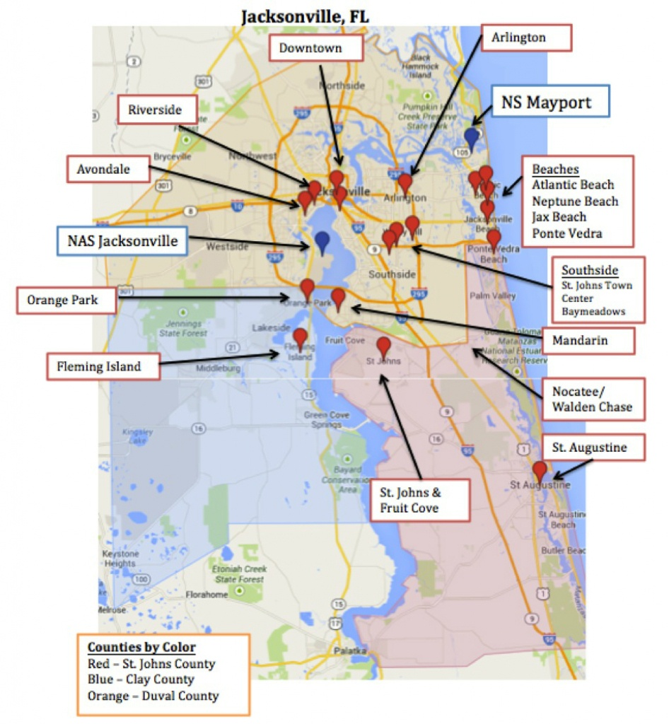 Map Of Jacksonville & Mayport, Florida   Military Town Advisor - Port St John Florida Map