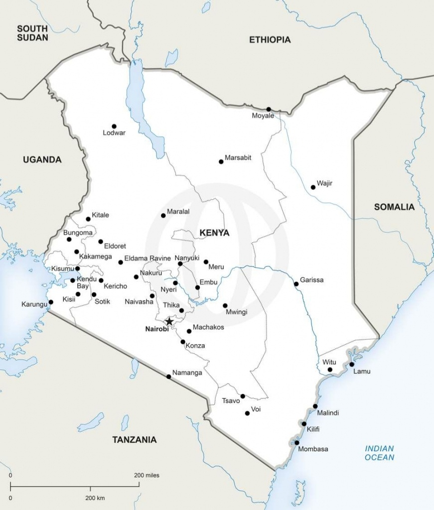 Map Of Kenya Political   Other Places   Map, Map Vector, Africa Map - Printable Map Of Kenya
