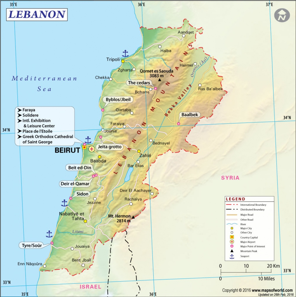 Map Of Lebanon - Printable Map Of Lebanon