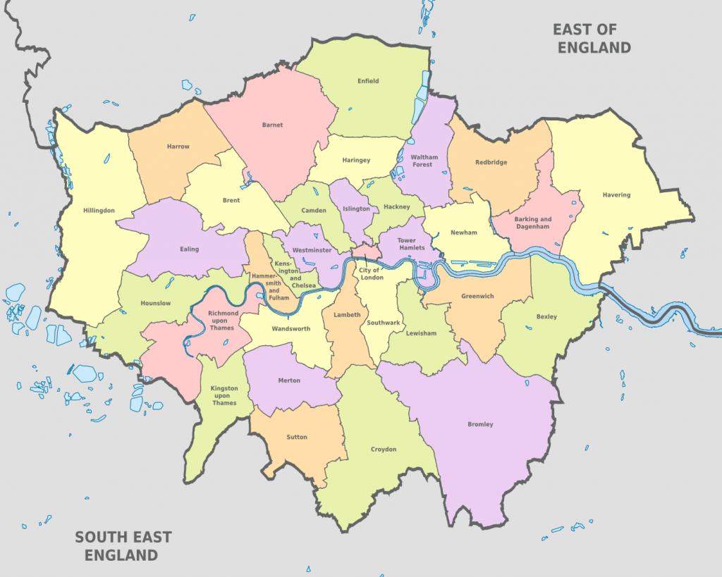 Map Of London 32 Boroughs & Neighborhoods - Printable Map Of London Boroughs