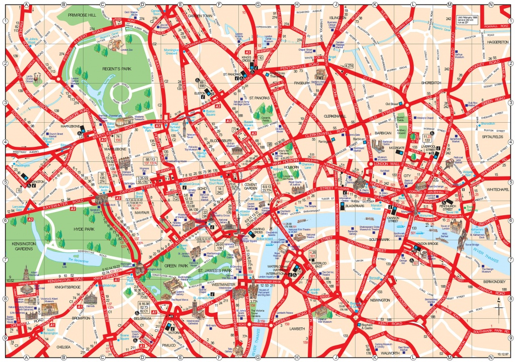 Map Of London Tourist Attractions, Sightseeing & Tourist Tour - London Sightseeing Map Printable