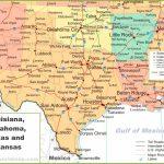 Map Of Louisiana, Oklahoma, Texas And Arkansas   Texas Louisiana Border Map