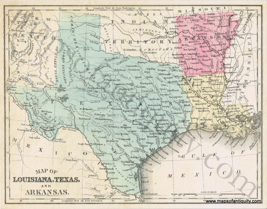 Map Of Louisiana, Texas, And Arkansas *****sold***** - Antique Maps - Texas Louisiana Border Map