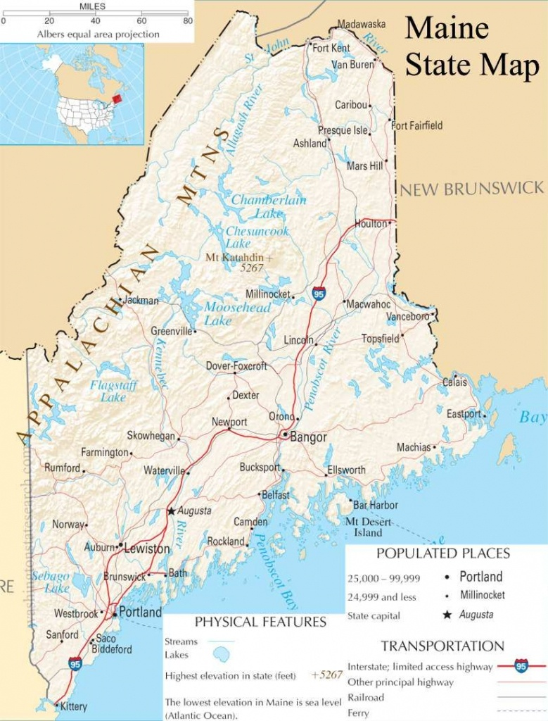Map Of Maine | Maine State Map - A Large Detailed Map Of Maine State - Printable Map Of Maine