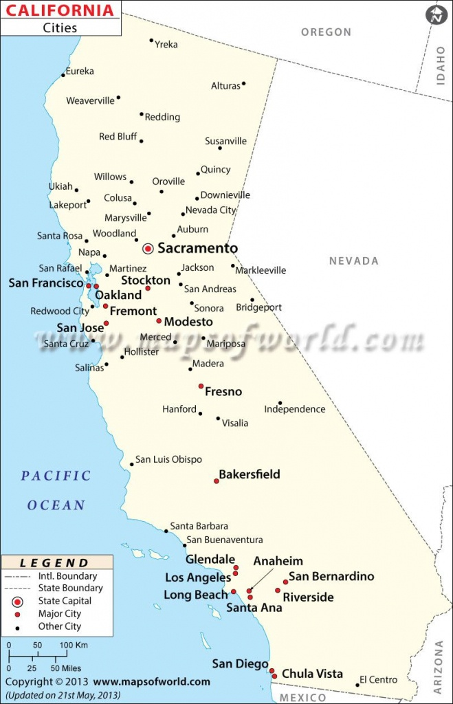 Map Of Major Cities Of California   Maps In 2019   California Map - California Map And Cities