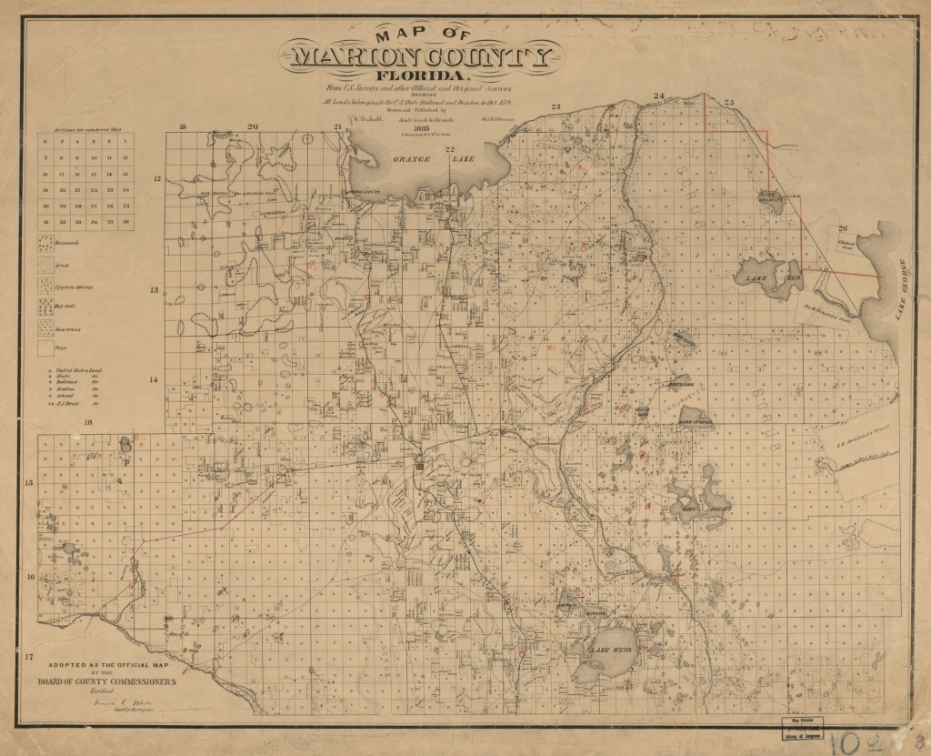 Map Of Marion County, Florida : From U.s. Surveys And Other Official - Marion County Florida Plat Maps