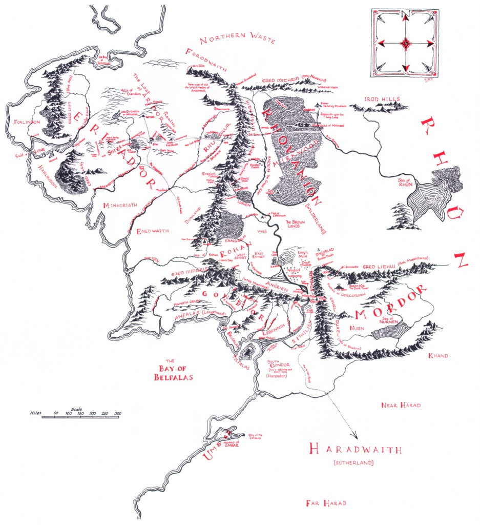 Map Of Middle-Earth - J.r.r. Tolkien - Printable Lord Of The Rings Map