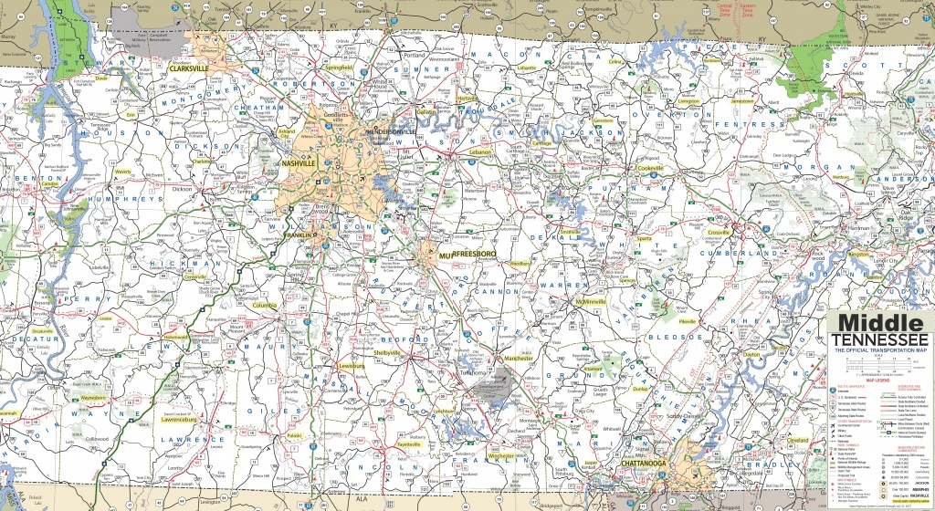Map Of Middle Tennessee - State Map Of Tennessee Printable