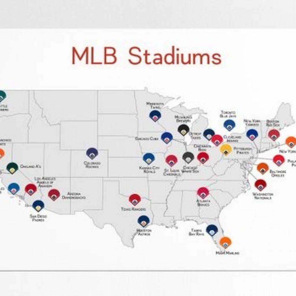 Map Of Mlb Ballparks Baseball Stadiums Mlb Stadium Print Etsy - Printable Map Of Mlb Stadiums