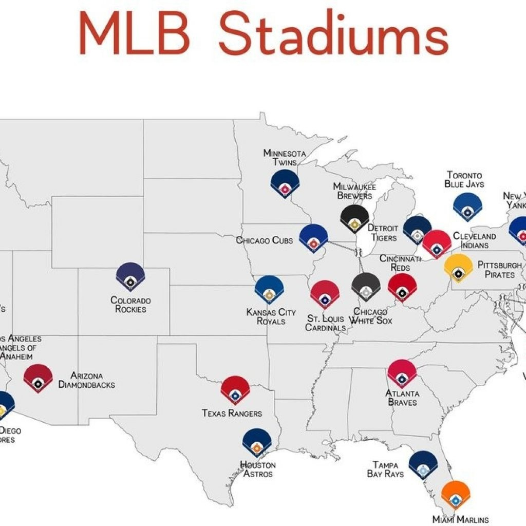 Map Of Mlb Ballparks Mlb Stadium Poster Parmar Media - Printable Map Of Mlb Stadiums