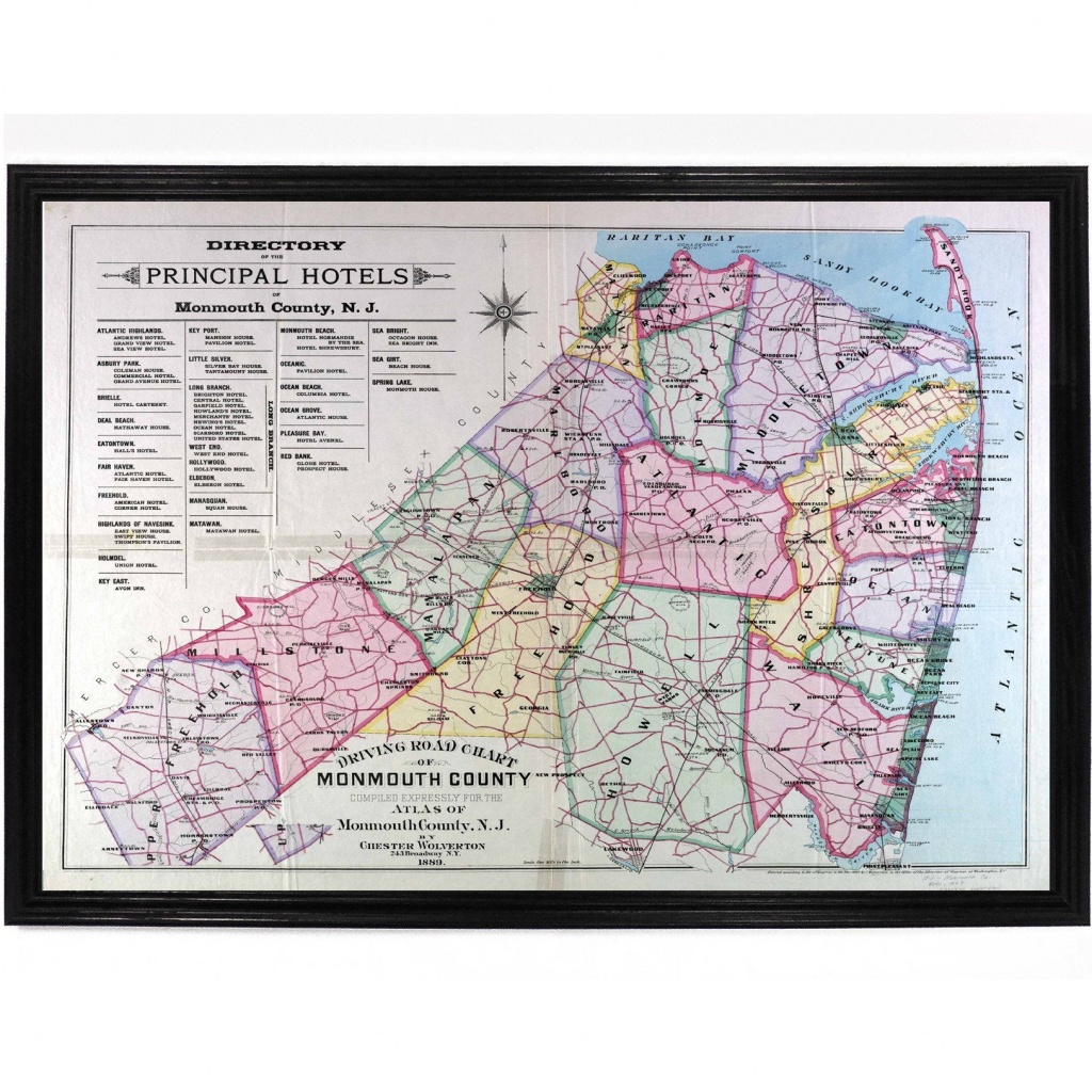 Map Of Monmouth County 1889 | Products | Monmouth County, County Map - Printable Map Of Monmouth County Nj
