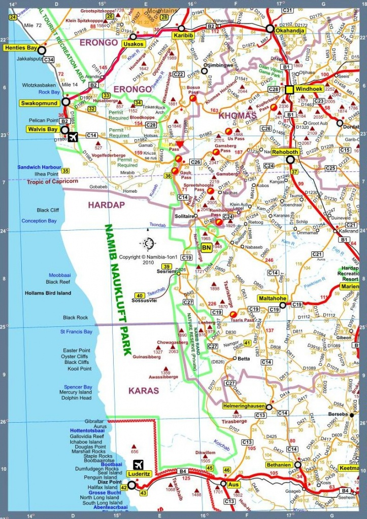 Map Of Namibia Africa Road Map F Version 2010 - Printable Road Map Of Namibia