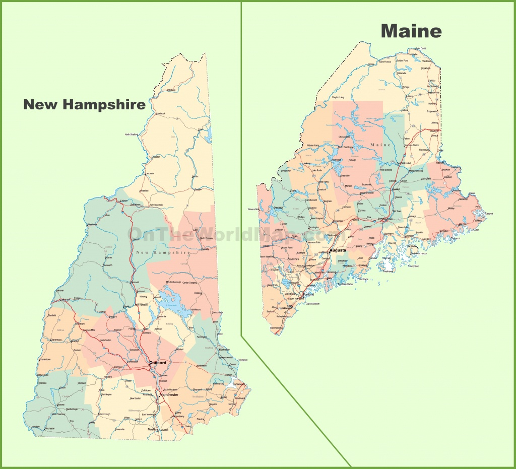 Map Of New Hampshire And Maine - Printable Road Map Of Maine