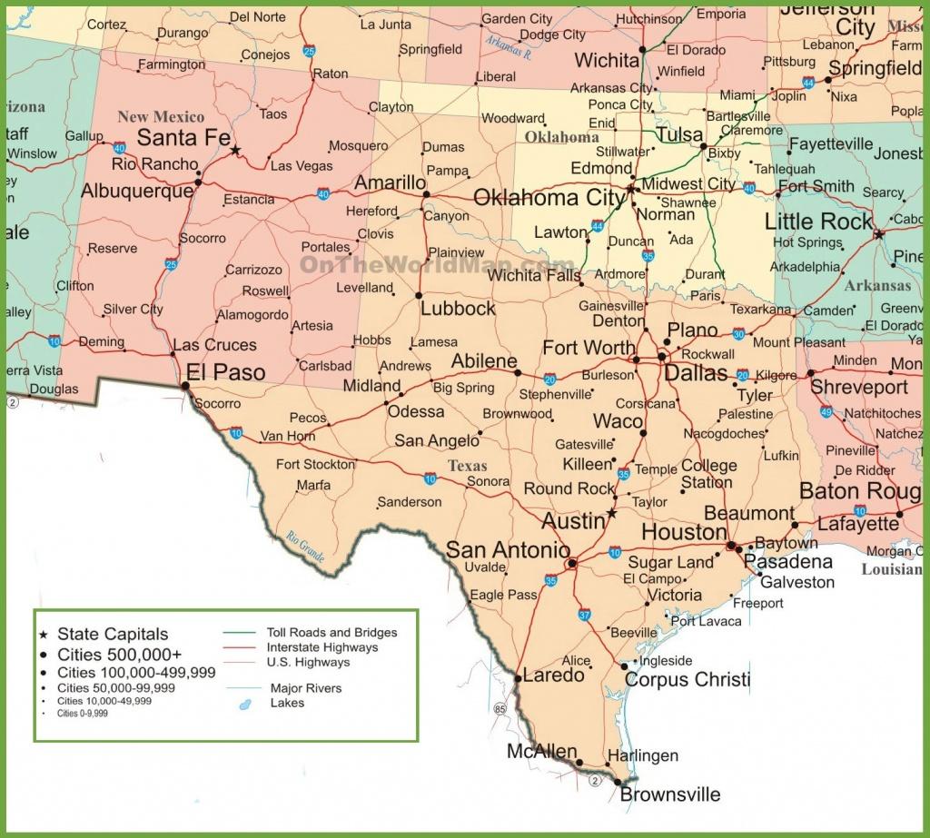 Map Of New Mexico, Oklahoma And Texas - Texas Louisiana Border Map