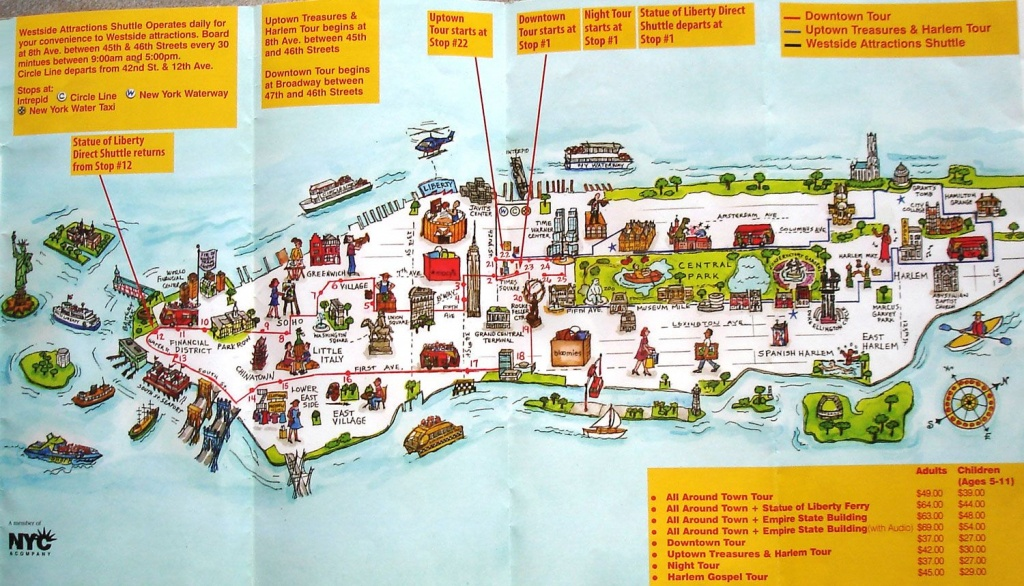 Map Of New York City Attractions Printable | Manhattan Citysites - New York Downtown Map Printable