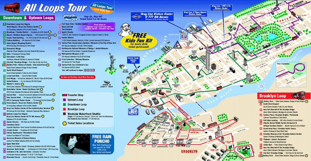Map Of New York City Attractions Printable    Tourist Map Of New - Manhattan Map With Attractions Printable