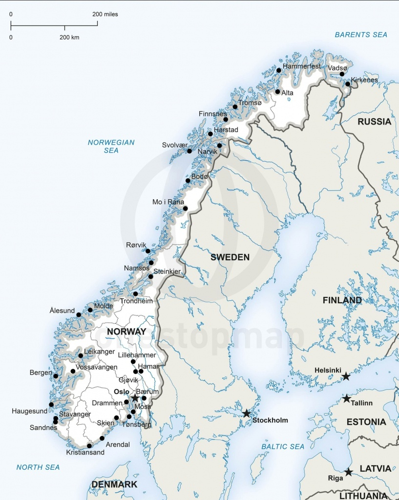 Map Of Norway Political | Homeschool | Norway Map, Map Vector, Map - Printable Map Of Norway With Cities