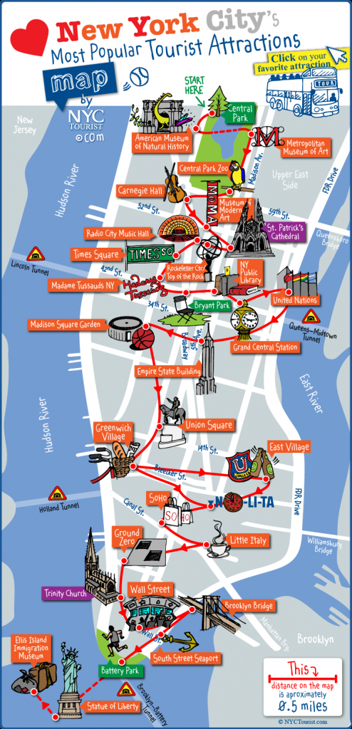 Map Of Nyc Tourist Attractions, Sightseeing & Tourist Tour - New York Printable Map Pdf