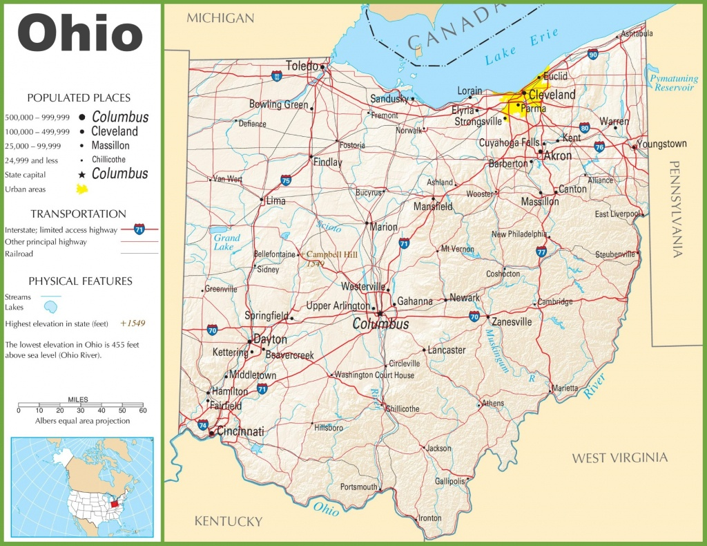 Map Of Ohio State And Travel Information | Download Free Map Of Ohio - Ohio State Map Printable