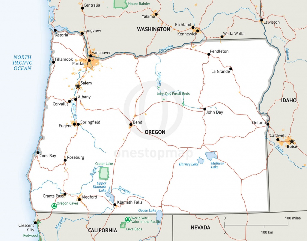 Map Of Oregon Defined Plus - Printable Map Of Oregon
