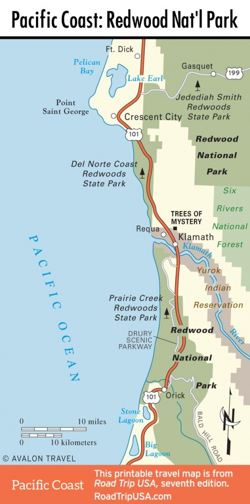 Map Of Pacific Coast Through Redwood National Park.   Pacific Coast - Redwood Forest California Map