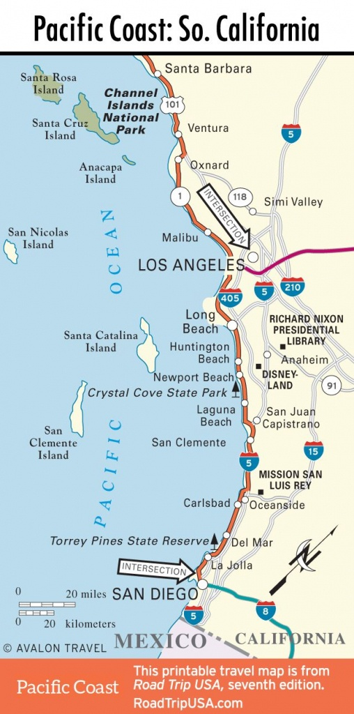 Map Of Pacific Coast Through Southern California.   Southern - California Coast Attractions Map