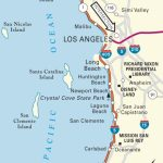 Map Of Pacific Coast Through Southern California. | Southern   Driving Map Of California With Distances