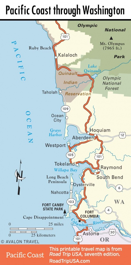 Map Of Pacific Coast Through Southern Washington Coast. | Bucket - Washington State Road Map Printable