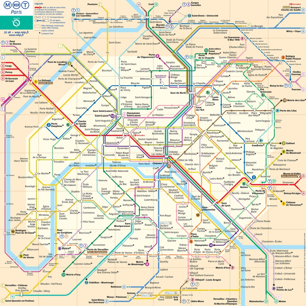 Map Of Paris Subway, Underground & Tube (Metro): Stations & Lines - Map Of Paris Metro Printable